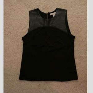 Banana Republic Black Faux-Leather Sleeveless Top